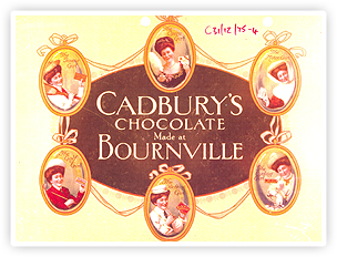 An early Cadbury chocolate wrapper. Cadbury began making chocolate bars in 1897.