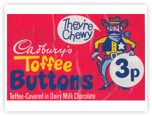 Cadbury Toffee Buttons packaging.