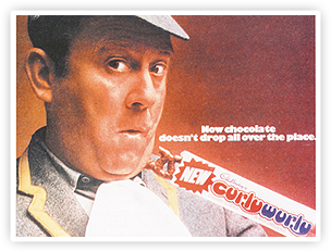 A Curly Wurly ad following the launch of the evolved softer version where chocolate was less likely to drop off.